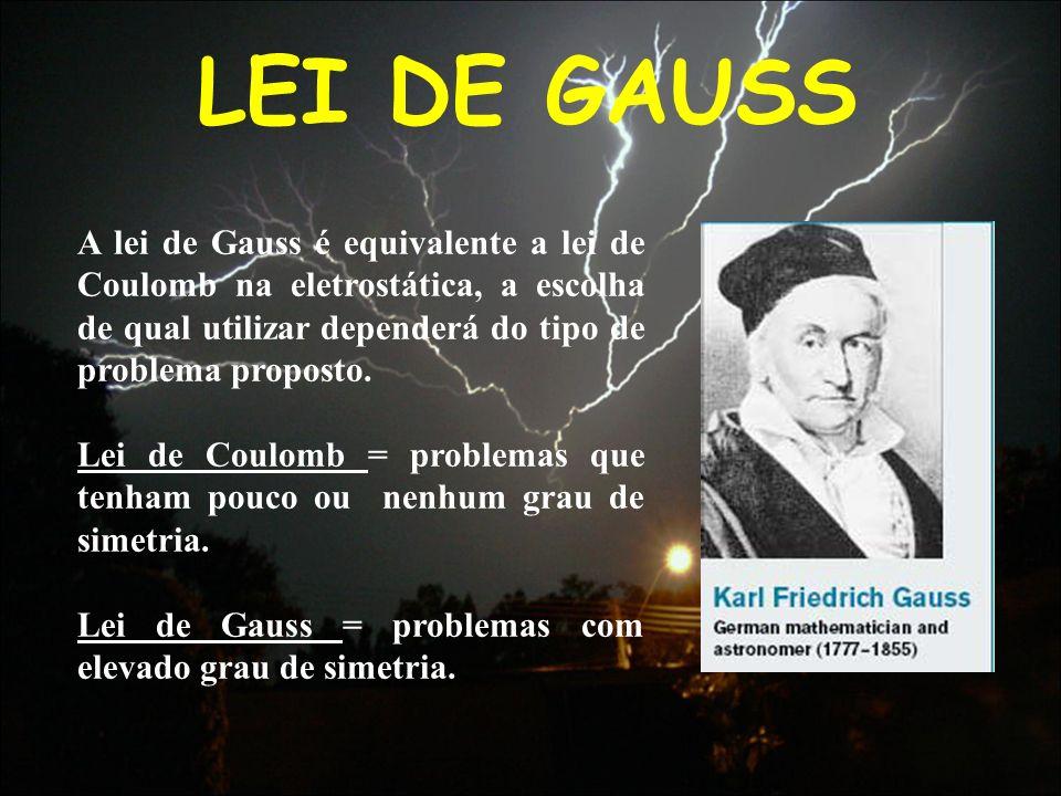 LEI DE GAUSS A lei de Gauss é equivalente a lei de Coulomb na eletrostática, a escolha de qual utilizar dependerá do tipo de problema proposto. Lei de