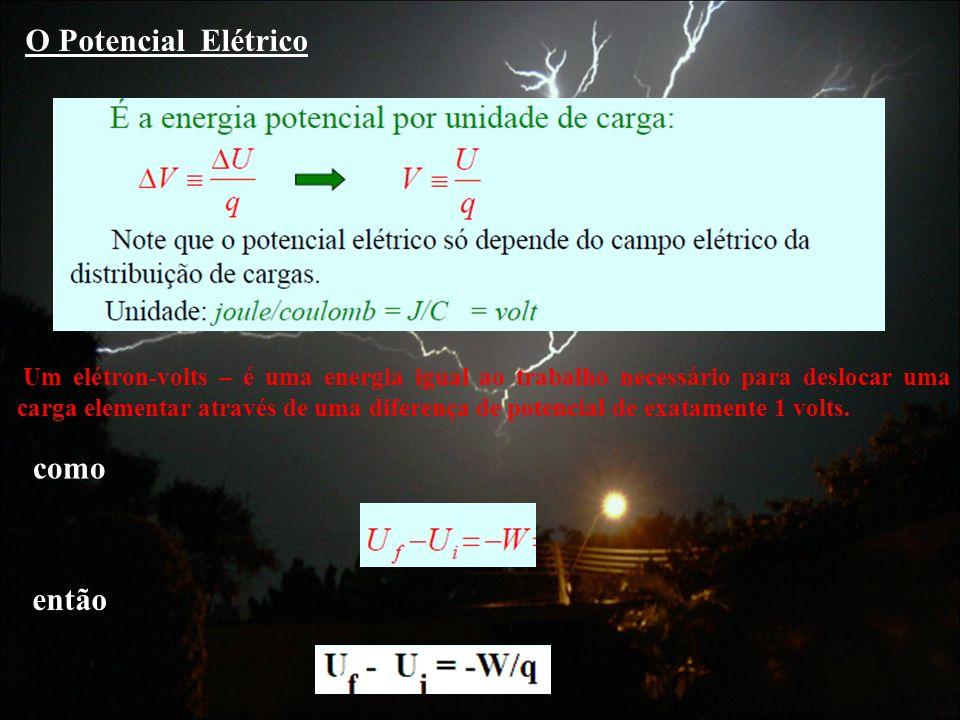 O Potencial Elétrico Um elétron-volts – é uma energia igual ao trabalho necessário para deslocar uma carga elementar através de uma diferença de poten