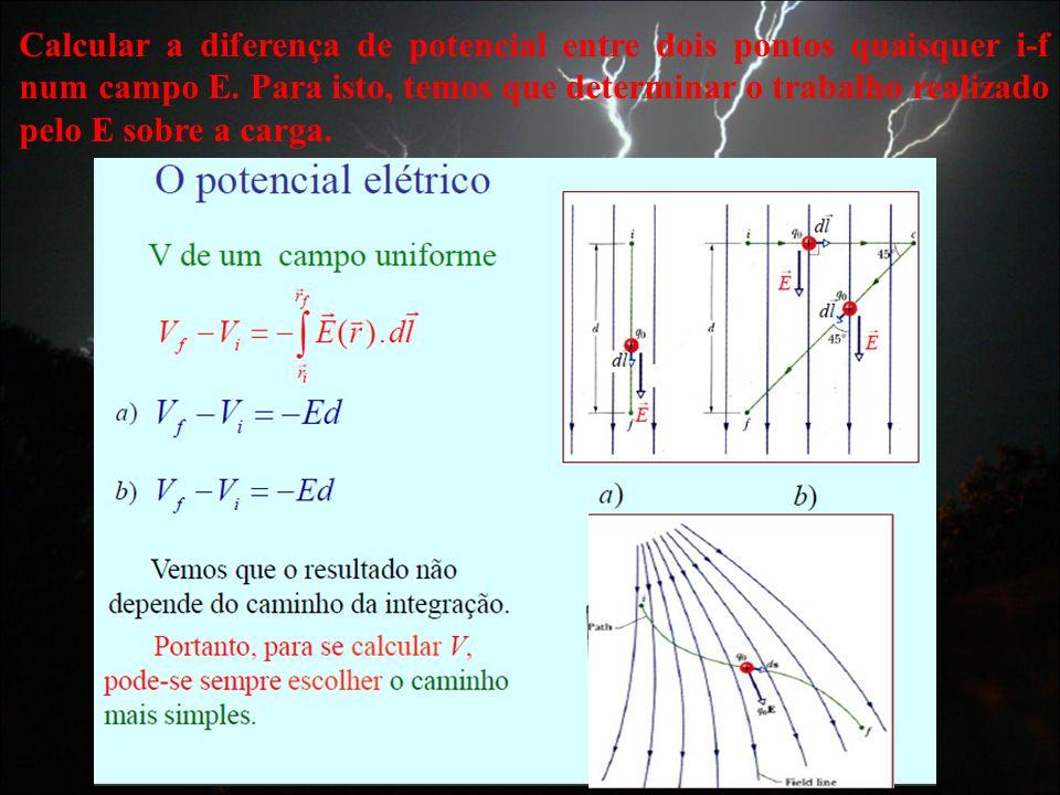Calcular a diferença de potencial entre dois pontos quaisquer i-f num campo E. Para isto, temos que determinar o trabalho realizado pelo E sobre a car