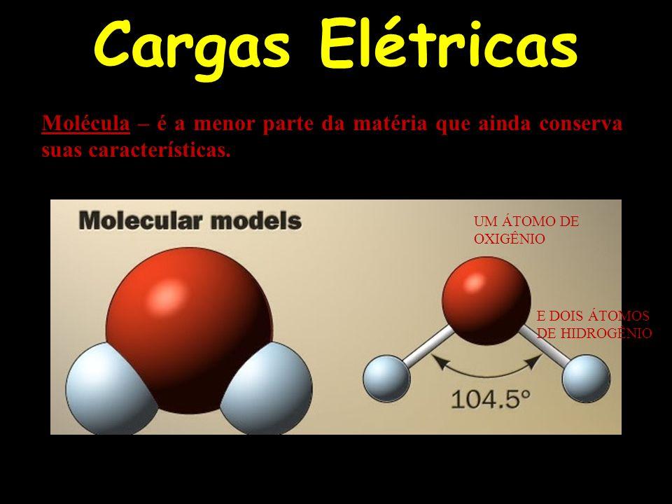 Cargas Elétricas Molécula – é a menor parte da matéria que ainda conserva suas características. UM ÁTOMO DE OXIGÊNIO E DOIS ÁTOMOS DE HIDROGÊNIO
