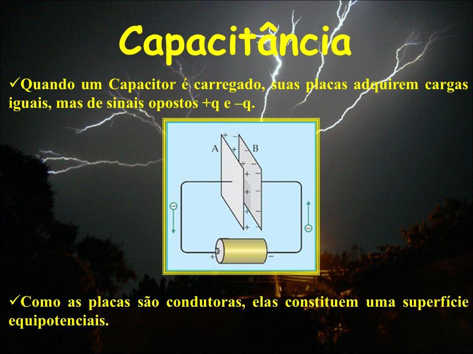 Capacitância Quando um Capacitor é carregado, suas placas adquirem cargas iguais, mas de sinais opostos +q e –q. Como as placas são condutoras, elas c