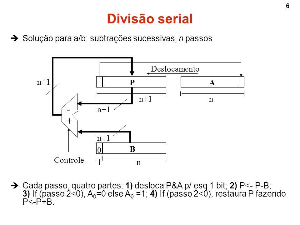 7 A = 11011 (27) B = 00101 (5) Divisão A/B P (conterá o resto)A (conterá a divisão) passo 00000011011 000001101101 00000110110 2 3 4 5 1) desloca P&A p/ esq 1 bit; 2) P P-B; 3) If (P<0), A 0 =0 else A 0 =1; 4) If (P<0), restaura P fazendo P P+B