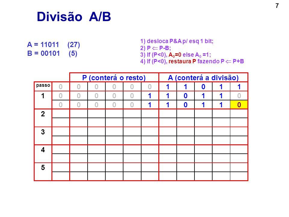 8 A = 11011 (27) B = 00101 (5) P (conterá o resto)A (conterá a divisão) passo 00000011011 000001101101 00000110110 000011011002 00001101100 3 4 5 Divisão A/B 1) desloca P&A p/ esq 1 bit; 2) P P-B; 3) If (P<0), A 0 =0 else A 0 =1; 4) If (P<0), restaura P fazendo P P+B