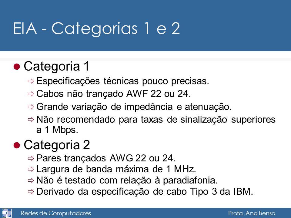 Redes de Computadores Profa. Ana Benso EIA - Categorias 1 e 2 Categoria 1 Especificações técnicas pouco precisas. Cabos não trançado AWF 22 ou 24. Gra