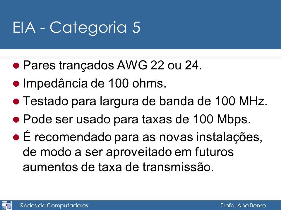 Redes de Computadores Profa. Ana Benso EIA - Categoria 5 Pares trançados AWG 22 ou 24. Impedância de 100 ohms. Testado para largura de banda de 100 MH