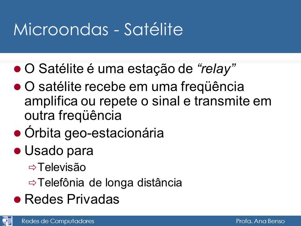 Redes de Computadores Profa. Ana Benso Microondas - Satélite O Satélite é uma estação de relay O satélite recebe em uma freqüência amplifica ou repete