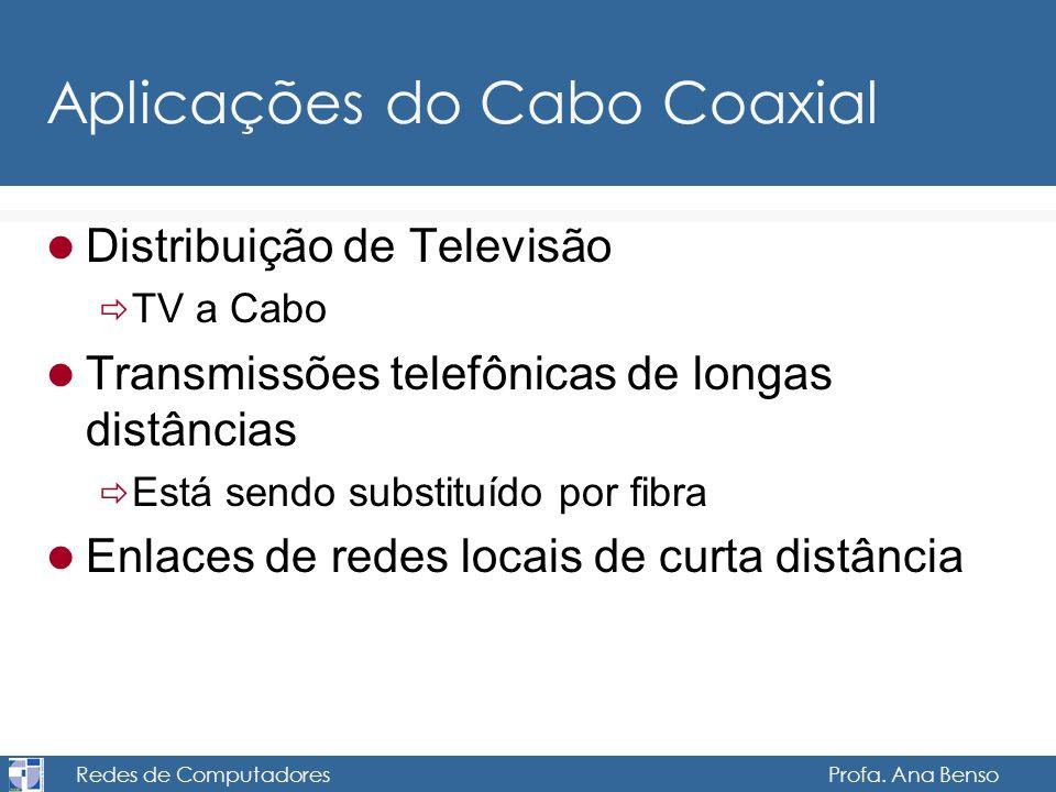 Redes de Computadores Profa. Ana Benso Aplicações do Cabo Coaxial Distribuição de Televisão TV a Cabo Transmissões telefônicas de longas distâncias Es