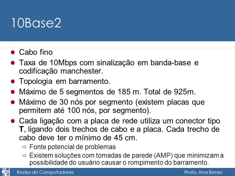 Redes de Computadores Profa. Ana Benso 10Base2 Cabo fino Taxa de 10Mbps com sinalização em banda-base e codificação manchester. Topologia em barrament