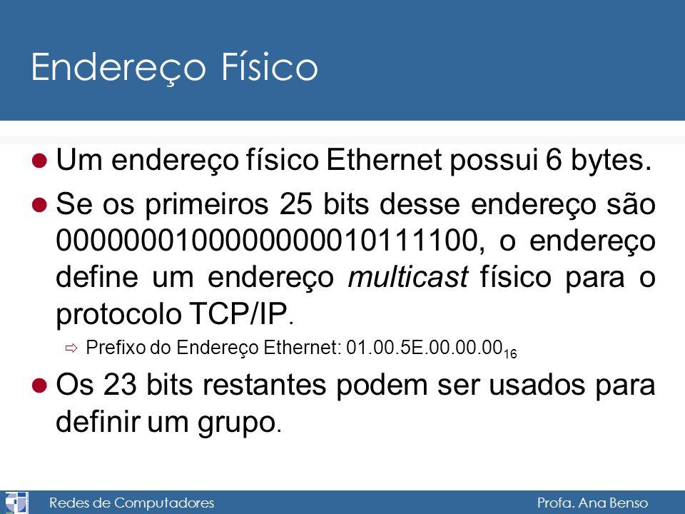 Redes de Computadores Profa. Ana Benso Endereço Físico Um endereço físico Ethernet possui 6 bytes. Se os primeiros 25 bits desse endereço são 00000001