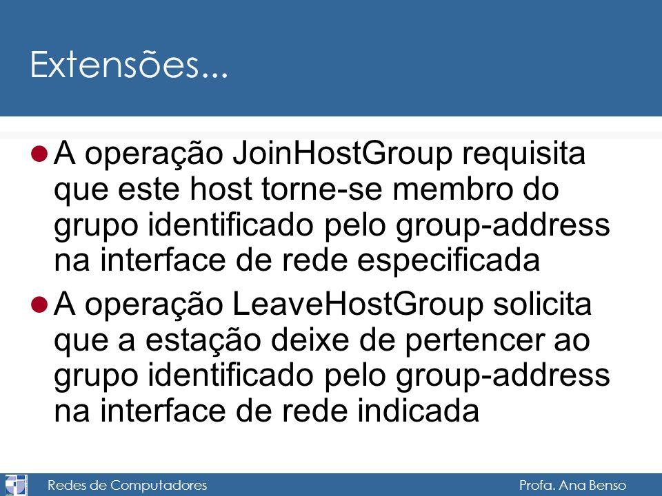 Redes de Computadores Profa. Ana Benso Extensões... A operação JoinHostGroup requisita que este host torne-se membro do grupo identificado pelo group-