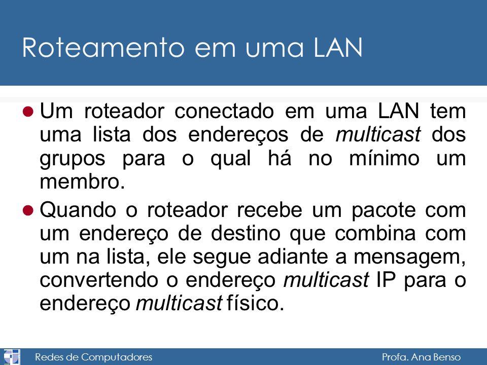 Redes de Computadores Profa. Ana Benso Roteamento em uma LAN Um roteador conectado em uma LAN tem uma lista dos endereços de multicast dos grupos para