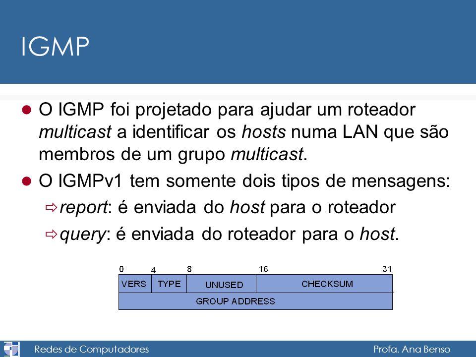 Redes de Computadores Profa. Ana Benso IGMP O IGMP foi projetado para ajudar um roteador multicast a identificar os hosts numa LAN que são membros de