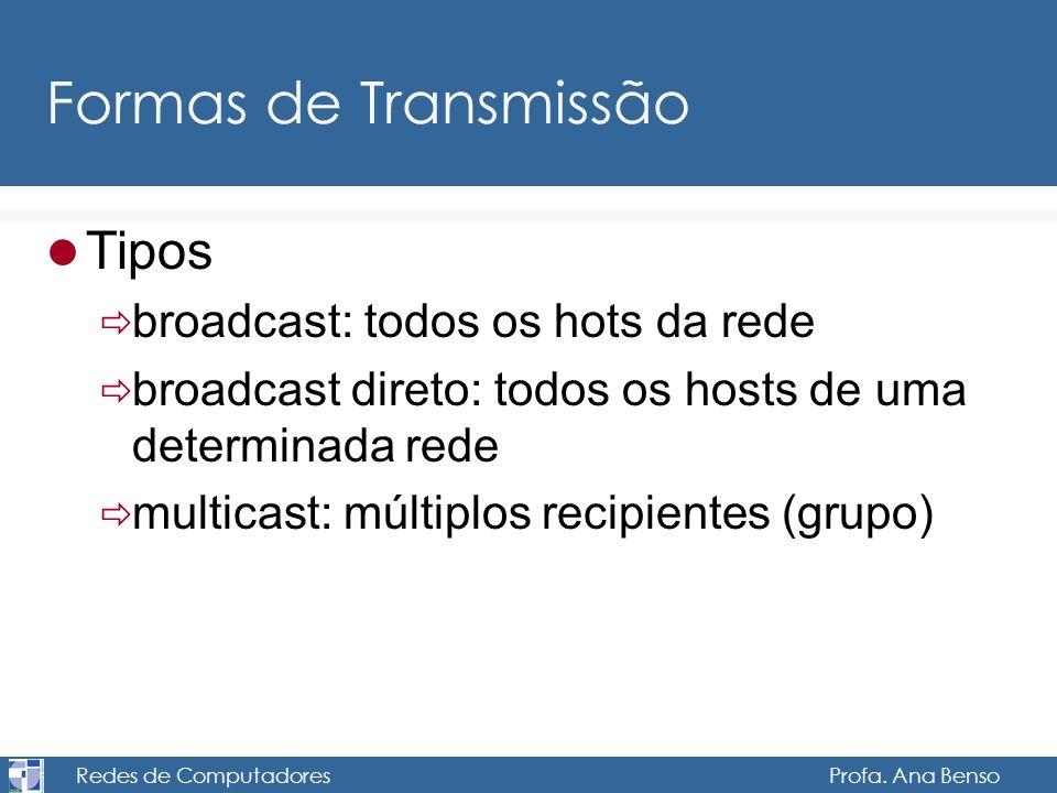 Redes de Computadores Profa. Ana Benso Formas de Transmissão Tipos broadcast: todos os hots da rede broadcast direto: todos os hosts de uma determinad