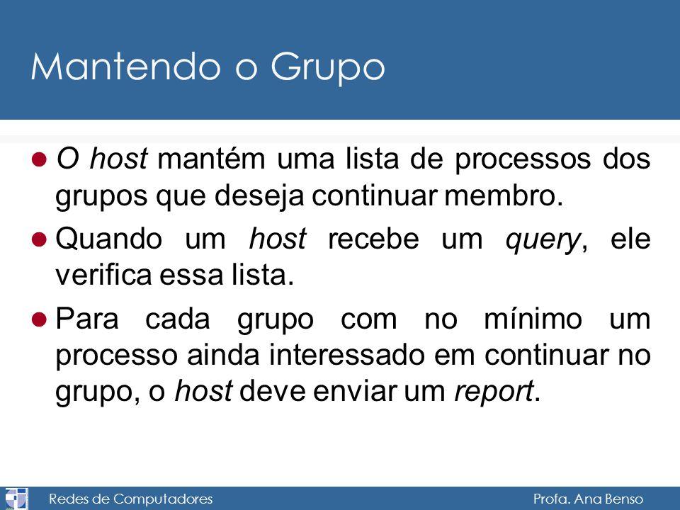 Redes de Computadores Profa. Ana Benso Mantendo o Grupo O host mantém uma lista de processos dos grupos que deseja continuar membro. Quando um host re