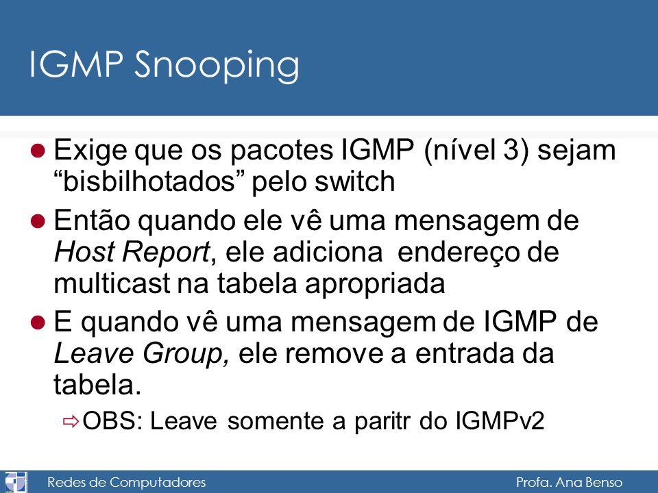Redes de Computadores Profa. Ana Benso IGMP Snooping Exige que os pacotes IGMP (nível 3) sejam bisbilhotados pelo switch Então quando ele vê uma mensa