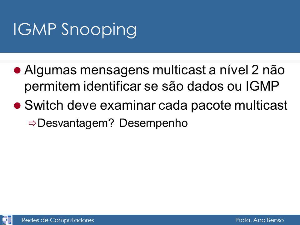 Redes de Computadores Profa. Ana Benso IGMP Snooping Algumas mensagens multicast a nível 2 não permitem identificar se são dados ou IGMP Switch deve e
