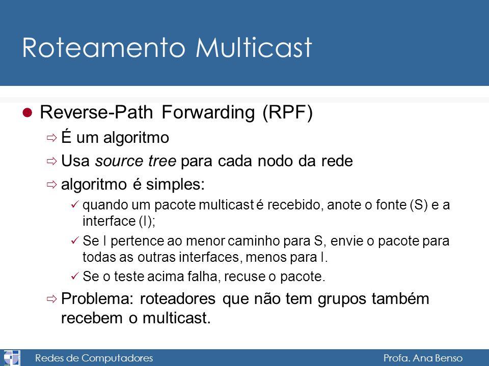 Redes de Computadores Profa. Ana Benso Roteamento Multicast Reverse-Path Forwarding (RPF) É um algoritmo Usa source tree para cada nodo da rede algori