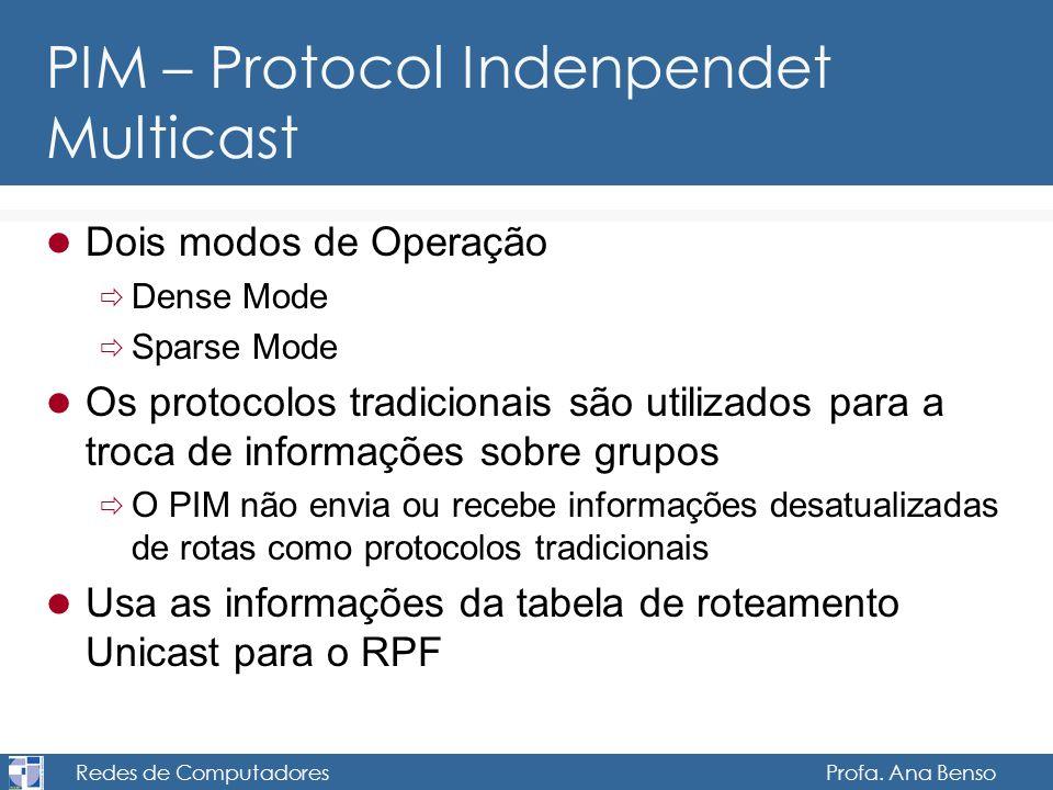 Redes de Computadores Profa. Ana Benso PIM – Protocol Indenpendet Multicast Dois modos de Operação Dense Mode Sparse Mode Os protocolos tradicionais s