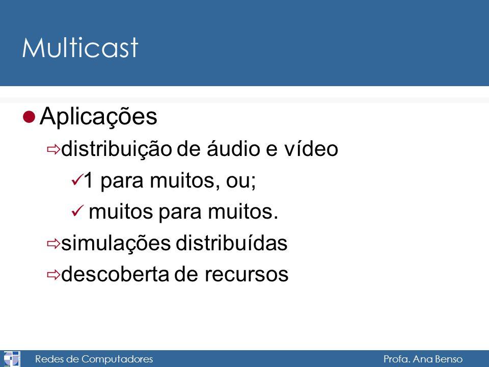 Redes de Computadores Profa. Ana Benso Multicast Aplicações distribuição de áudio e vídeo 1 para muitos, ou; muitos para muitos. simulações distribuíd