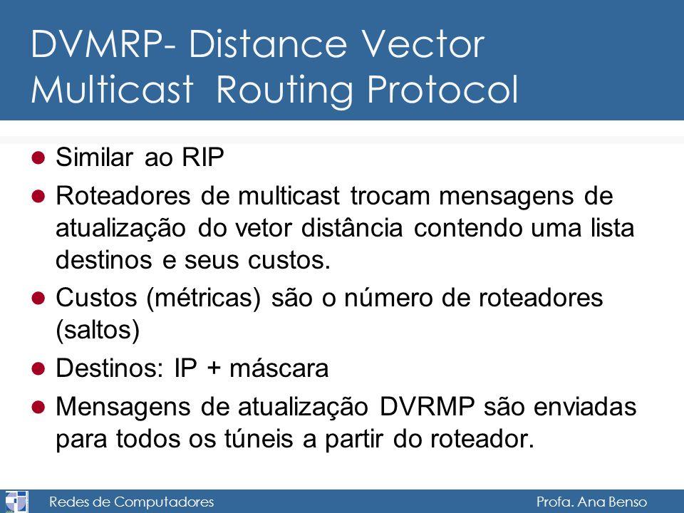 Redes de Computadores Profa. Ana Benso DVMRP- Distance Vector Multicast Routing Protocol Similar ao RIP Roteadores de multicast trocam mensagens de at