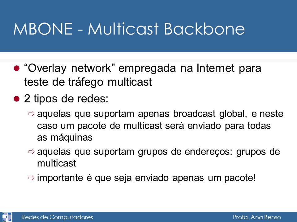 Redes de Computadores Profa. Ana Benso MBONE - Multicast Backbone Overlay network empregada na Internet para teste de tráfego multicast 2 tipos de red
