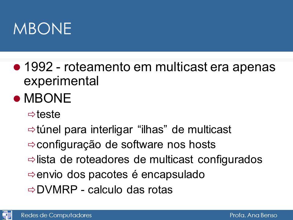 Redes de Computadores Profa. Ana Benso MBONE 1992 - roteamento em multicast era apenas experimental MBONE teste túnel para interligar ilhas de multica