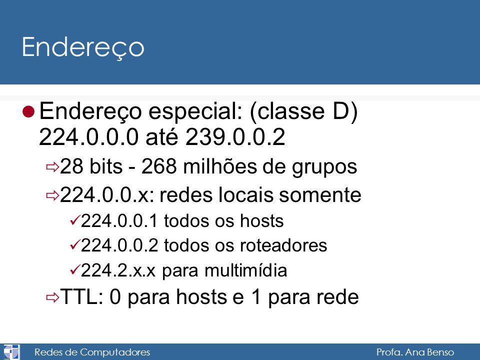 Redes de Computadores Profa. Ana Benso Endereço Endereço especial: (classe D) 224.0.0.0 até 239.0.0.2 28 bits - 268 milhões de grupos 224.0.0.x: redes