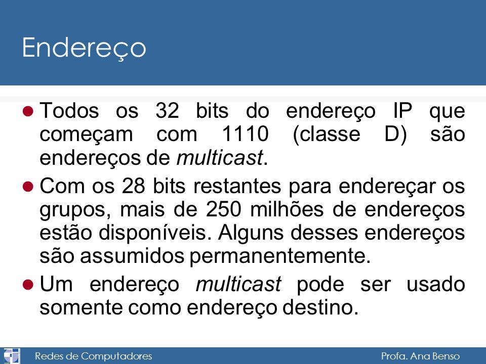 Redes de Computadores Profa. Ana Benso Endereço Todos os 32 bits do endereço IP que começam com 1110 (classe D) são endereços de multicast. Com os 28