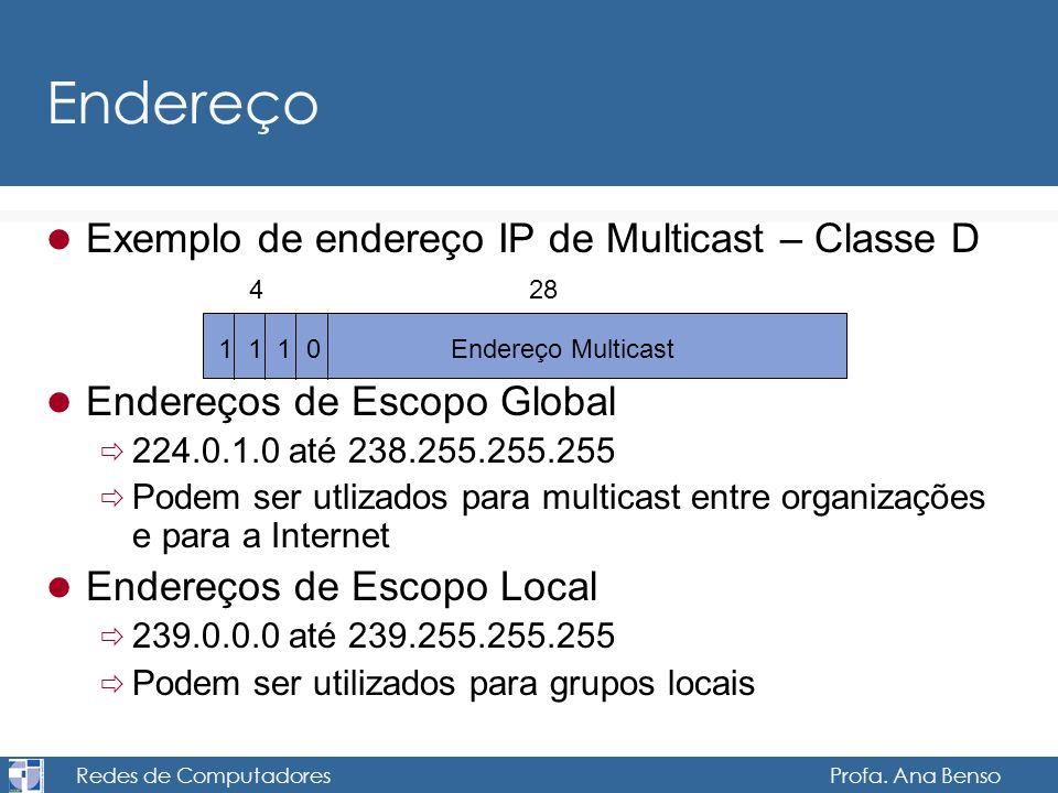 Redes de Computadores Profa. Ana Benso Endereço Exemplo de endereço IP de Multicast – Classe D Endereços de Escopo Global 224.0.1.0 até 238.255.255.25