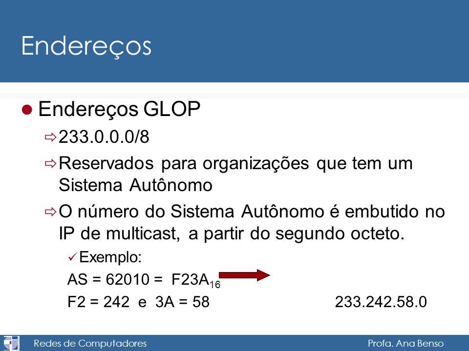 Redes de Computadores Profa. Ana Benso Endereços Endereços GLOP 233.0.0.0/8 Reservados para organizações que tem um Sistema Autônomo O número do Siste