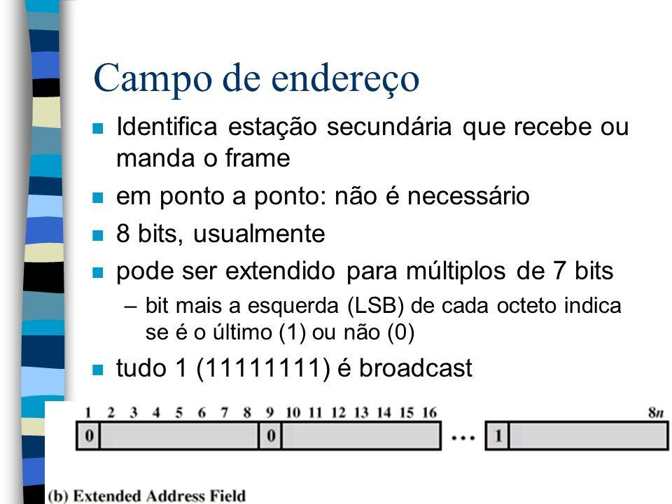 Campo de endereço n Identifica estação secundária que recebe ou manda o frame n em ponto a ponto: não é necessário n 8 bits, usualmente n pode ser ext