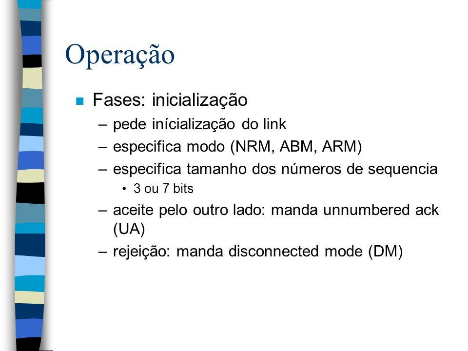 Operação n Fases: inicialização –pede inícialização do link –especifica modo (NRM, ABM, ARM) –especifica tamanho dos números de sequencia 3 ou 7 bits