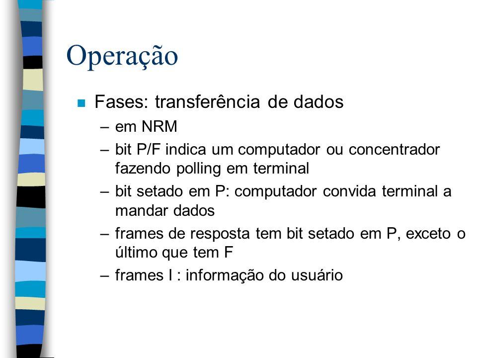 Operação n Fases: transferência de dados –em NRM –bit P/F indica um computador ou concentrador fazendo polling em terminal –bit setado em P: computado