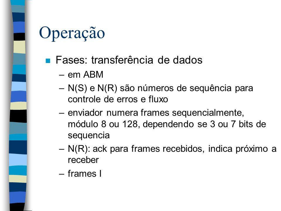Operação n Fases: transferência de dados –em ABM –N(S) e N(R) são números de sequência para controle de erros e fluxo –enviador numera frames sequenci