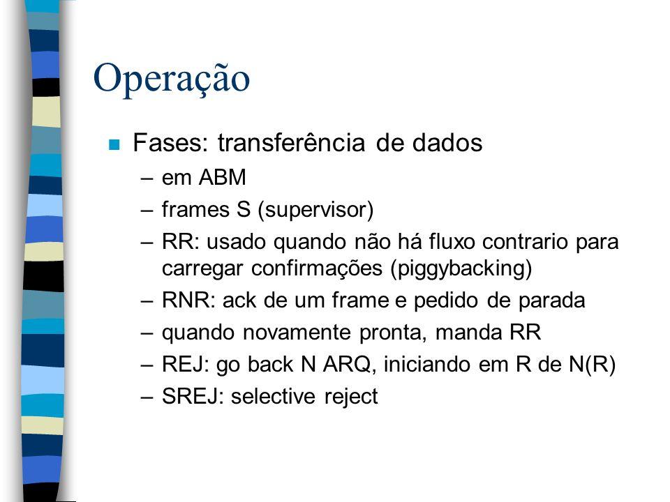 Operação n Fases: transferência de dados –em ABM –frames S (supervisor) –RR: usado quando não há fluxo contrario para carregar confirmações (piggyback