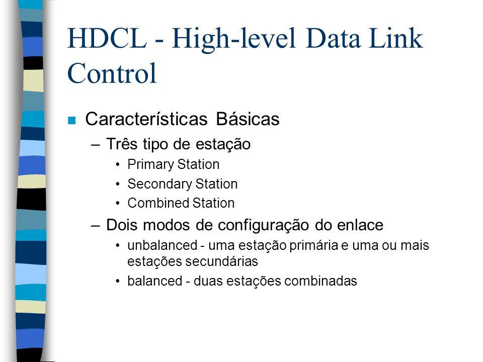 HDCL - High-level Data Link Control n Características Básicas –Três tipo de estação Primary Station Secondary Station Combined Station –Dois modos de