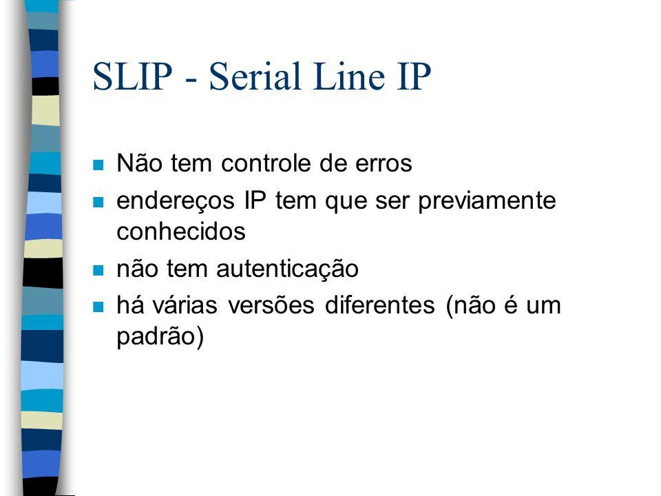 SLIP - Serial Line IP n Não tem controle de erros n endereços IP tem que ser previamente conhecidos n não tem autenticação n há várias versões diferen