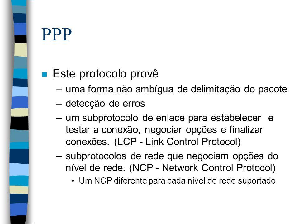 PPP n Este protocolo provê –uma forma não ambígua de delimitação do pacote –detecção de erros –um subprotocolo de enlace para estabelecer e testar a c