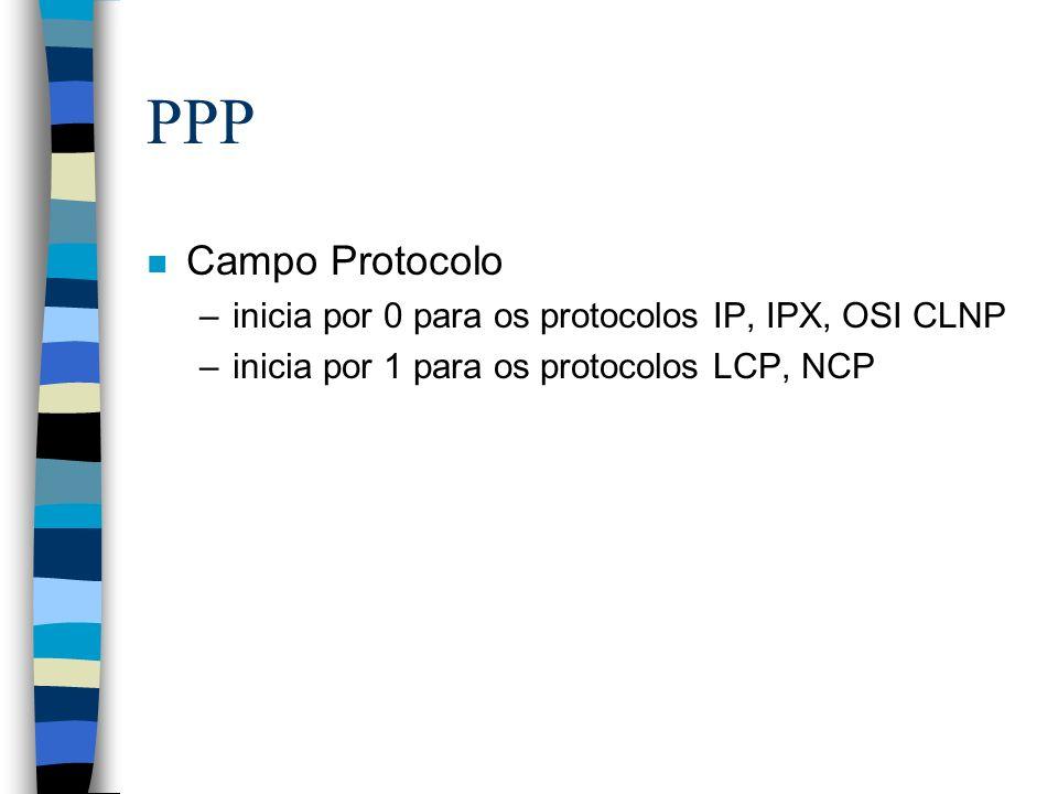 PPP n Campo Protocolo –inicia por 0 para os protocolos IP, IPX, OSI CLNP –inicia por 1 para os protocolos LCP, NCP