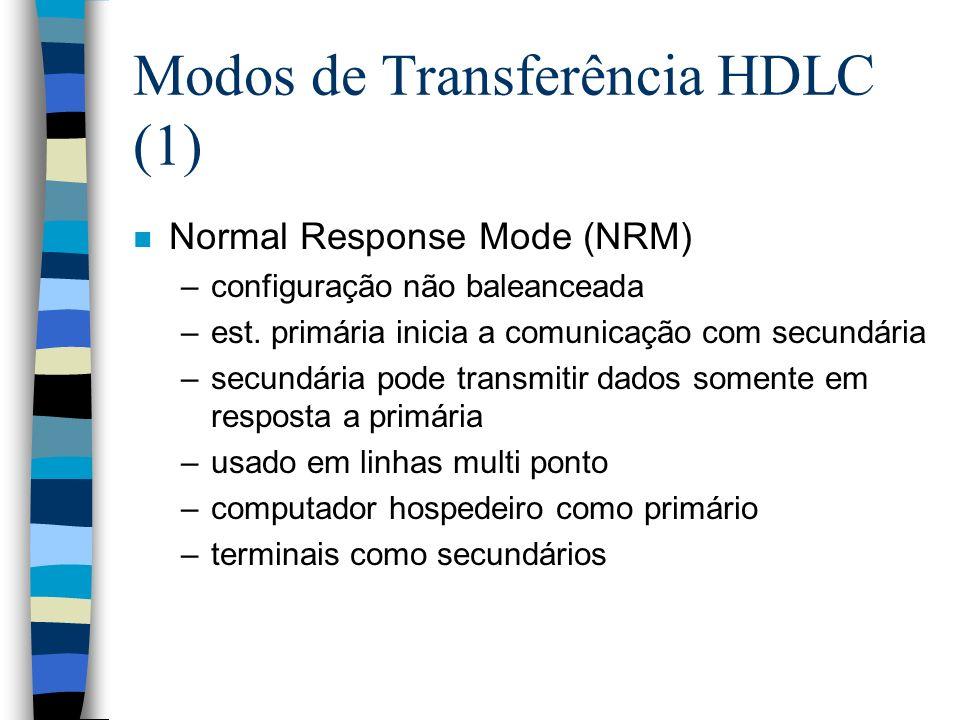 Modos de TransferênciaHDLC (2) n Asynchronous Balanced Mode (ABM) –configuração balanceada –ambas estações podem iniciar a transmissao sem receber permissão –mais utilizada –não há overhead de polling