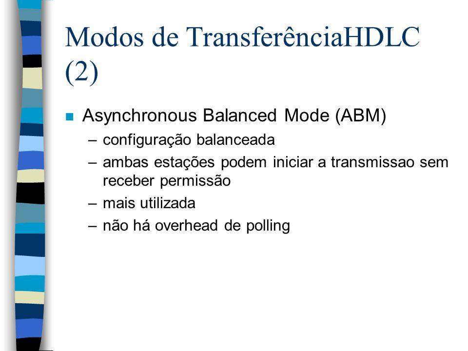Modos de Transferência HDLC (3) n Asynchronous Response Mode (ARM) –configuração não balanceada –secundária pode iniciar a transmissão sem permissão da primária –primária é responsável pela linha –raramente usada