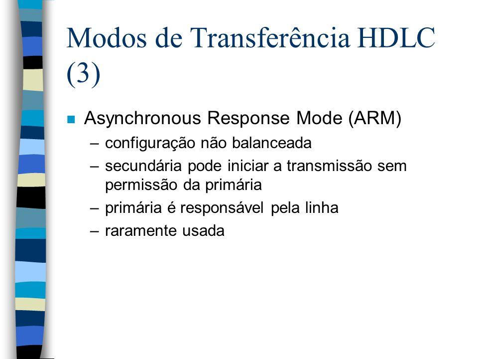 Modos de Transferência HDLC (3) n Asynchronous Response Mode (ARM) –configuração não balanceada –secundária pode iniciar a transmissão sem permissão d