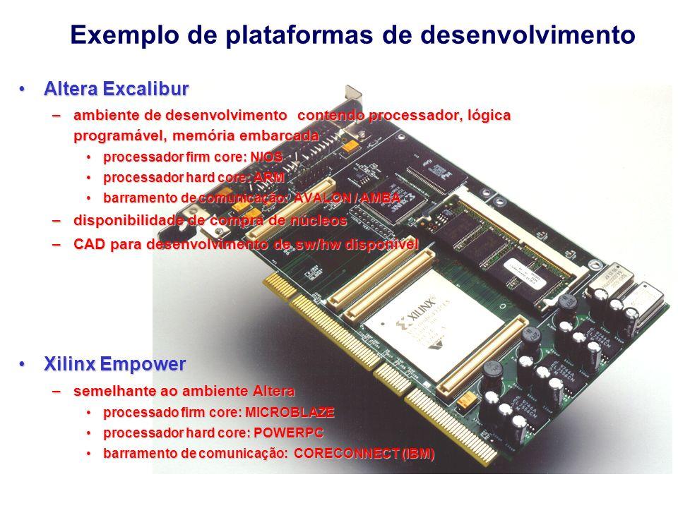 Altera Dispositivo EPXA10 Processador ARM 922T RISC 32 bits 200MHz 256Kbytes de RAM - porta simples 128Kbytes de RAM - dupla porta 1M de portas lógicas - para implementar Hw 1000+ pinos de E/S