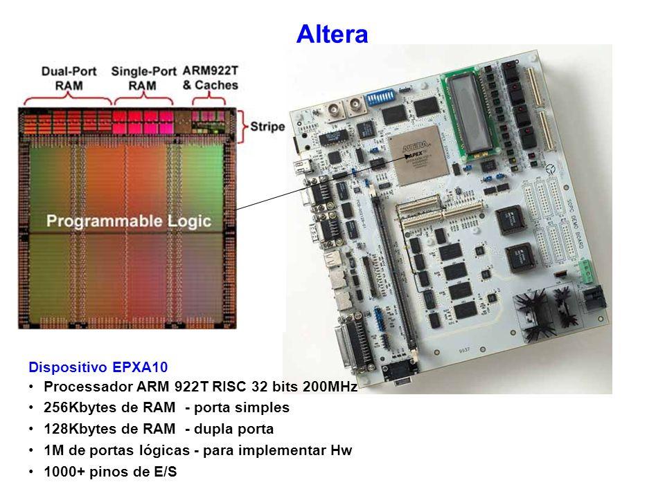 Altera Dispositivo EPXA10 Processador ARM 922T RISC 32 bits 200MHz 256Kbytes de RAM - porta simples 128Kbytes de RAM - dupla porta 1M de portas lógica