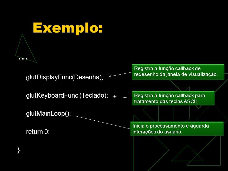 Exemplo:... glutDisplayFunc(Desenha); glutKeyboardFunc (Teclado); glutMainLoop(); return 0; } Registra a função callback de redesenho da janela de vis