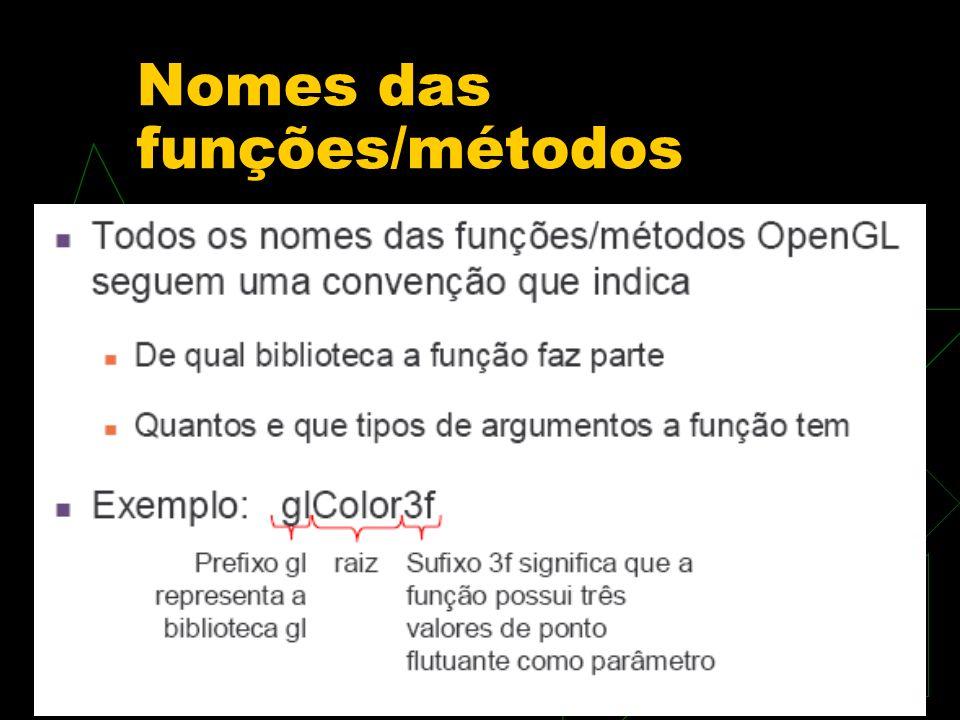 Nomes das funções/métodos