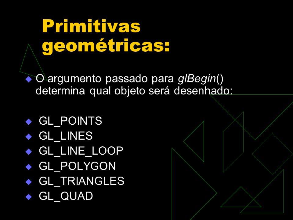 Primitivas geométricas: O argumento passado para glBegin() determina qual objeto será desenhado: GL_POINTS GL_LINES GL_LINE_LOOP GL_POLYGON GL_TRIANGL