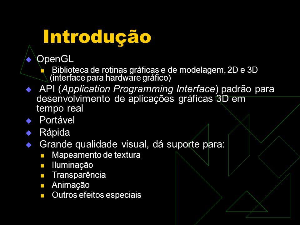 Introdução OpenGL Biblioteca de rotinas gráficas e de modelagem, 2D e 3D (interface para hardware gráfico) API (Application Programming Interface) pad