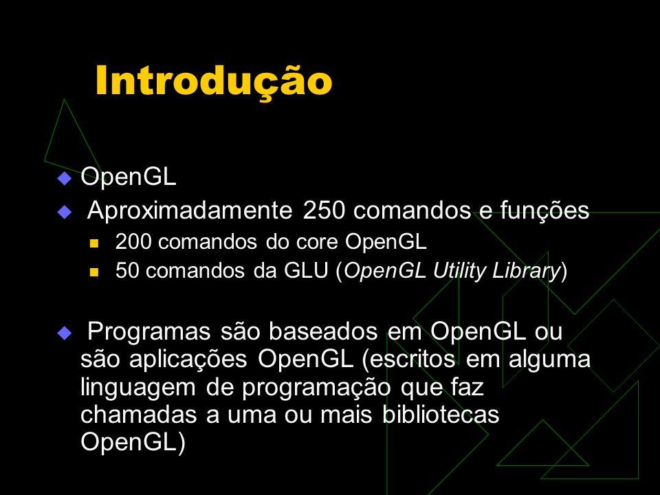 Introdução OpenGL Aproximadamente 250 comandos e funções 200 comandos do core OpenGL 50 comandos da GLU (OpenGL Utility Library) Programas são baseado