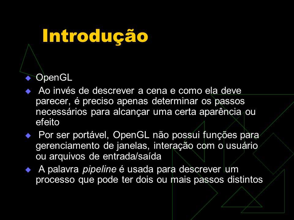 Introdução OpenGL Ao invés de descrever a cena e como ela deve parecer, é preciso apenas determinar os passos necessários para alcançar uma certa apar